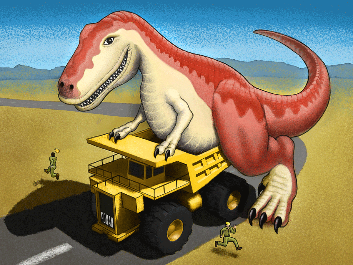 T-Rex playing on a Mining Truck